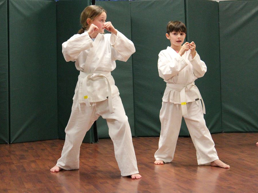 A girl and boy in stance during a Taekwon-Do class at Mulberry Recreation Center