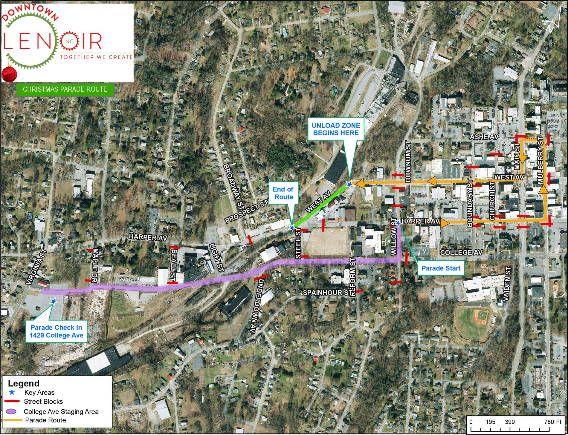 Downtown Lenoir Christmas Parade Map