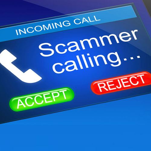 "Image of a caller ID that reads ""Scammer calling"" ""Accept"" ""Reject"""