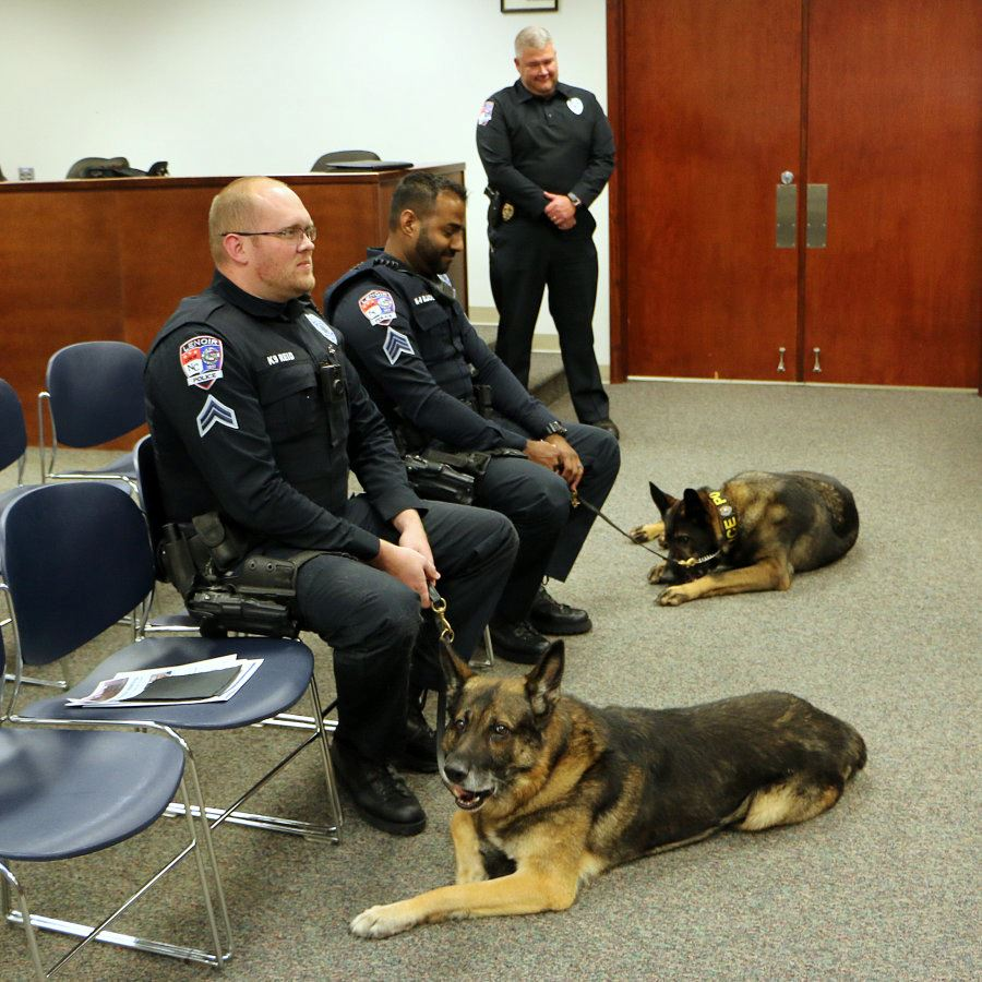 Corporal Just Reid and K9 Mato and Sgt. Nathaniel Blache and K9 Cerik
