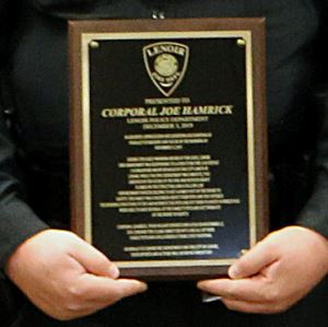 A close up of Corporal Hamrick&#39s plaque of appreciation