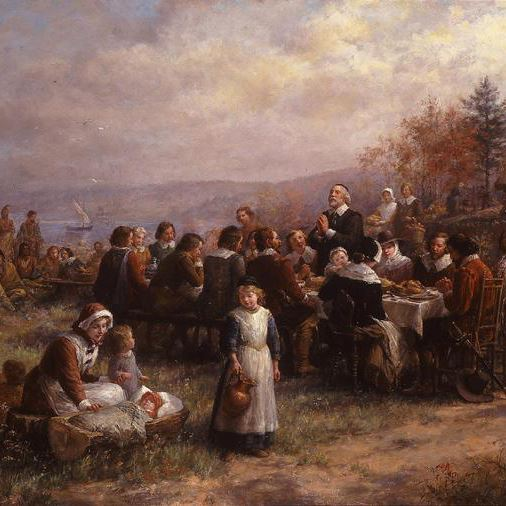 Thanksgiving At Plymouth painting by Jennie Brownscombe