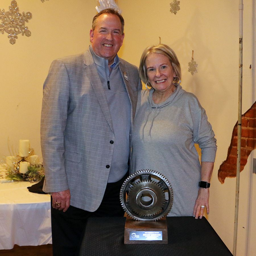 Mayor Joe and Becky Gibbons pose with the 2020 Gibbons Award, which was given to Becky Gibbons.