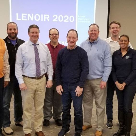 City Council poses with Sen. Warren Daniel at the City of Lenoir Planning Retreat, Feb. 21, 2020