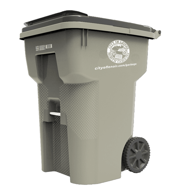 The City provided garbage can is warm gray with the City seal and website on the side.