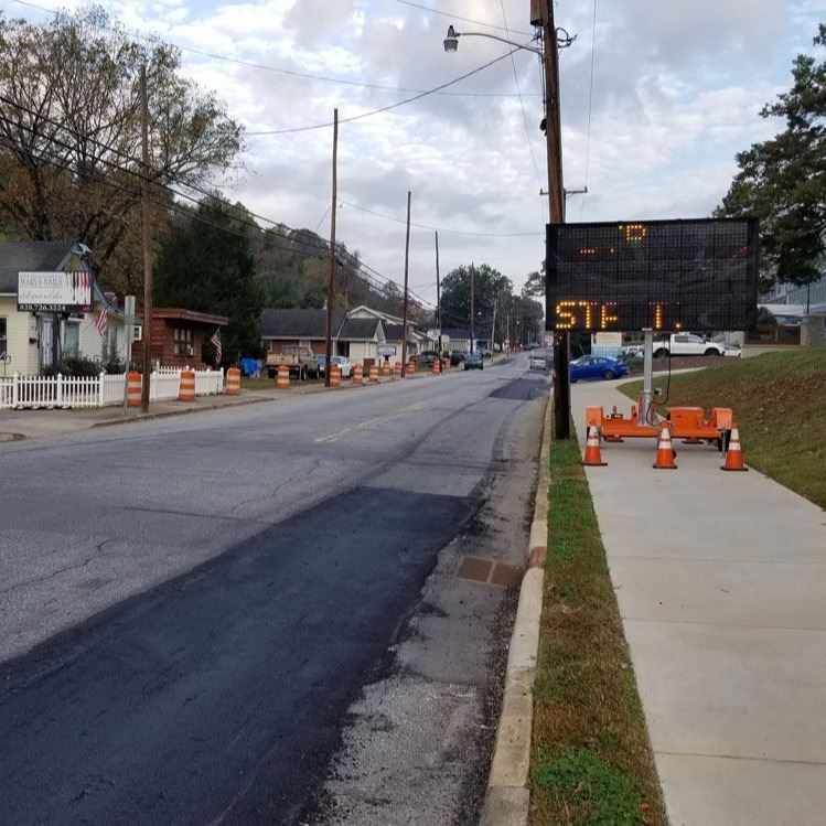 Paving message board on Mulberry Street in Lenoir, Oct. 23, 2020.