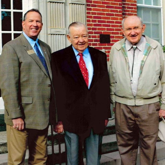 Mayor Joe Gibbons, Senator Jim Broyhill, and Gary Everhardt in front of Fr. Crider, Sept. 27, 2014