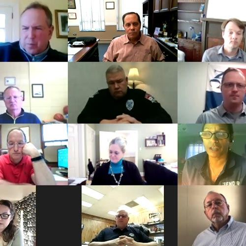 Screen shot of the Council zoom meeting