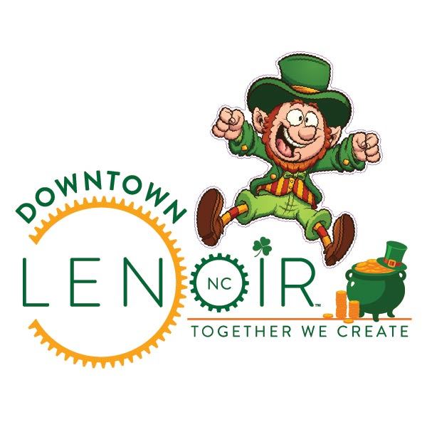 Leprechaun hopping over Downtown Lenoir NC logo