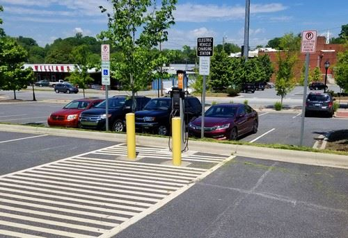 Electric Vehicle Charging Station in parking lot
