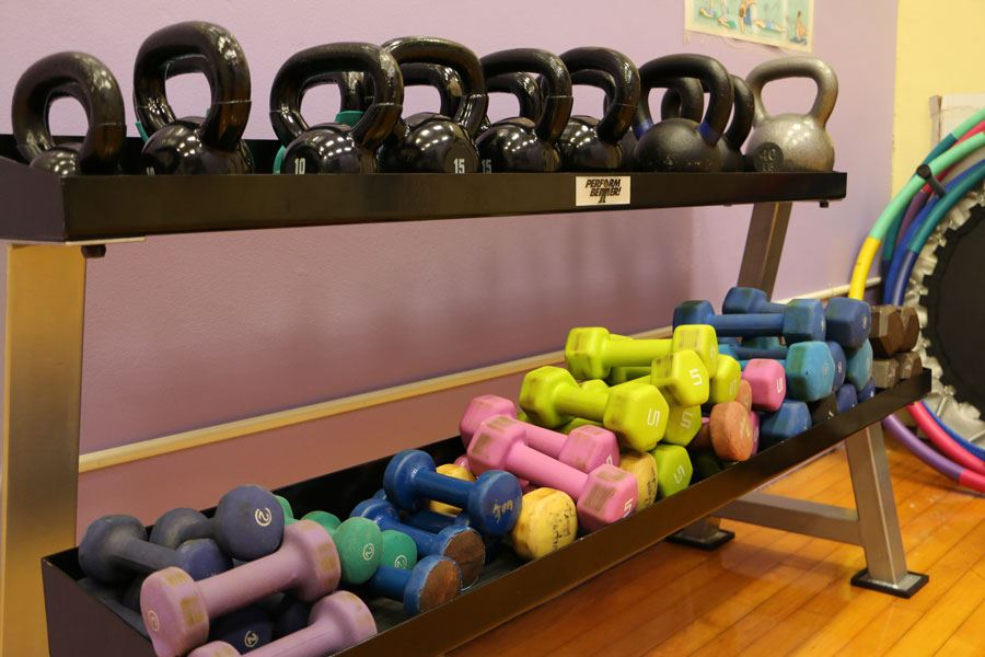 Exercise Room Weights at the Lenoir Aquatic and Fitness Center in Lenoir
