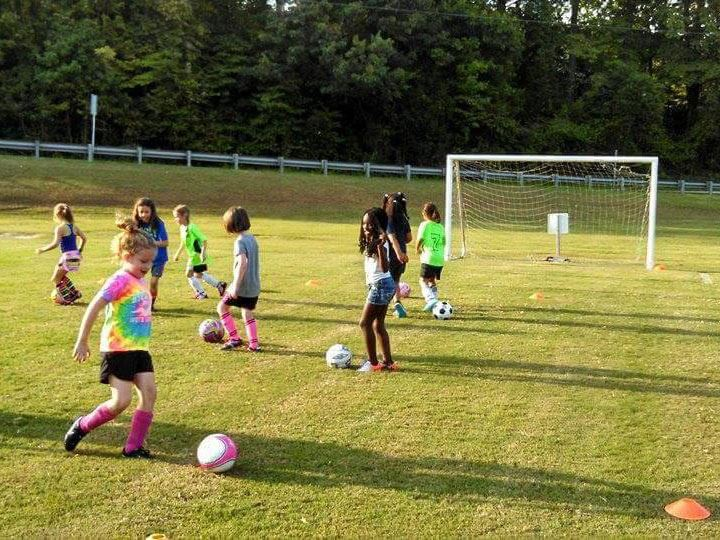 Girls playing soccer at the Lenoir Rotary Soccer Complex in Lenoir