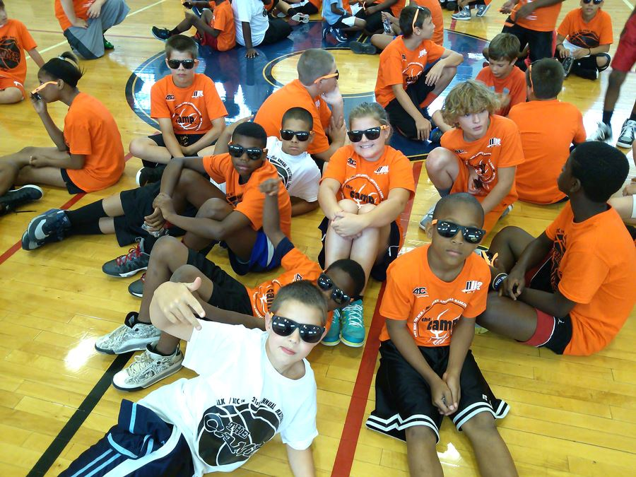 Basketball players attending The Camp take a break in the Martin Luther King Jr. Center in Lenoir