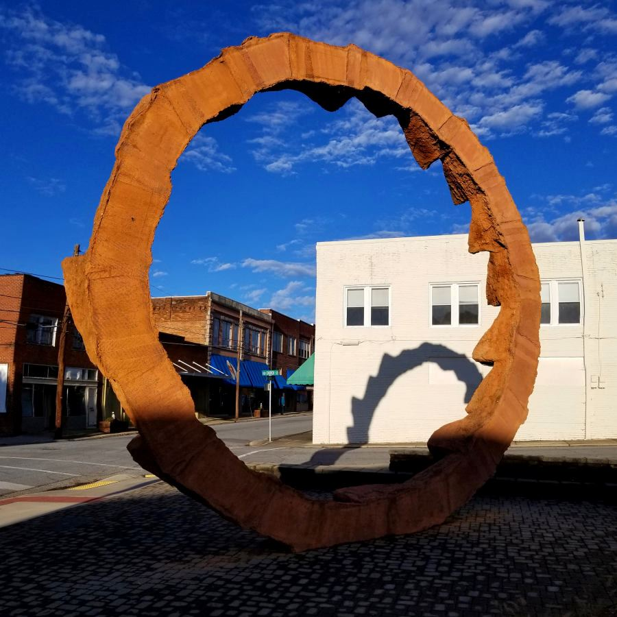 Across the Grain sculpture in Downtown Lenoir