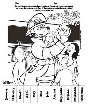 Smoke Alarm Check Coloring Sheet