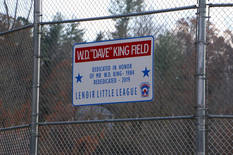 WD Dave King sign at Lenoir Optimist Park
