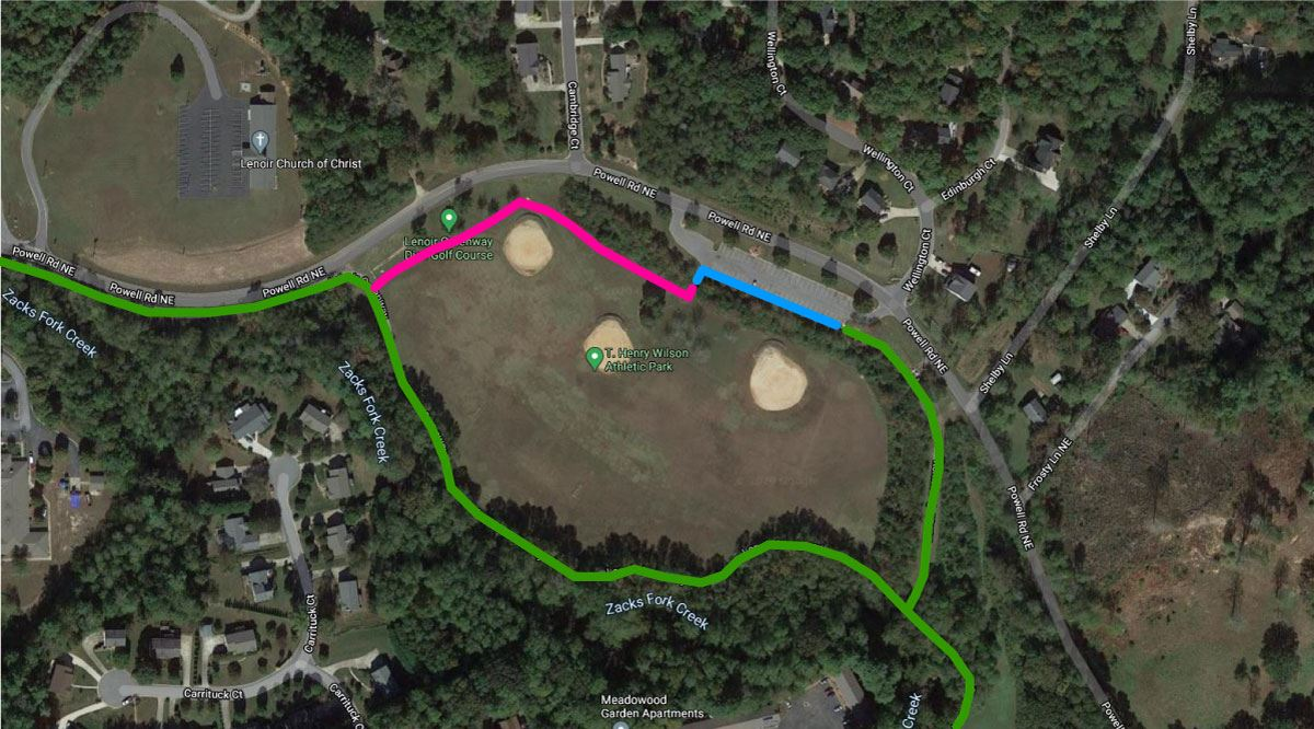 Map showing how the new section of greenway at Wilson Park will complete a loop around the park.