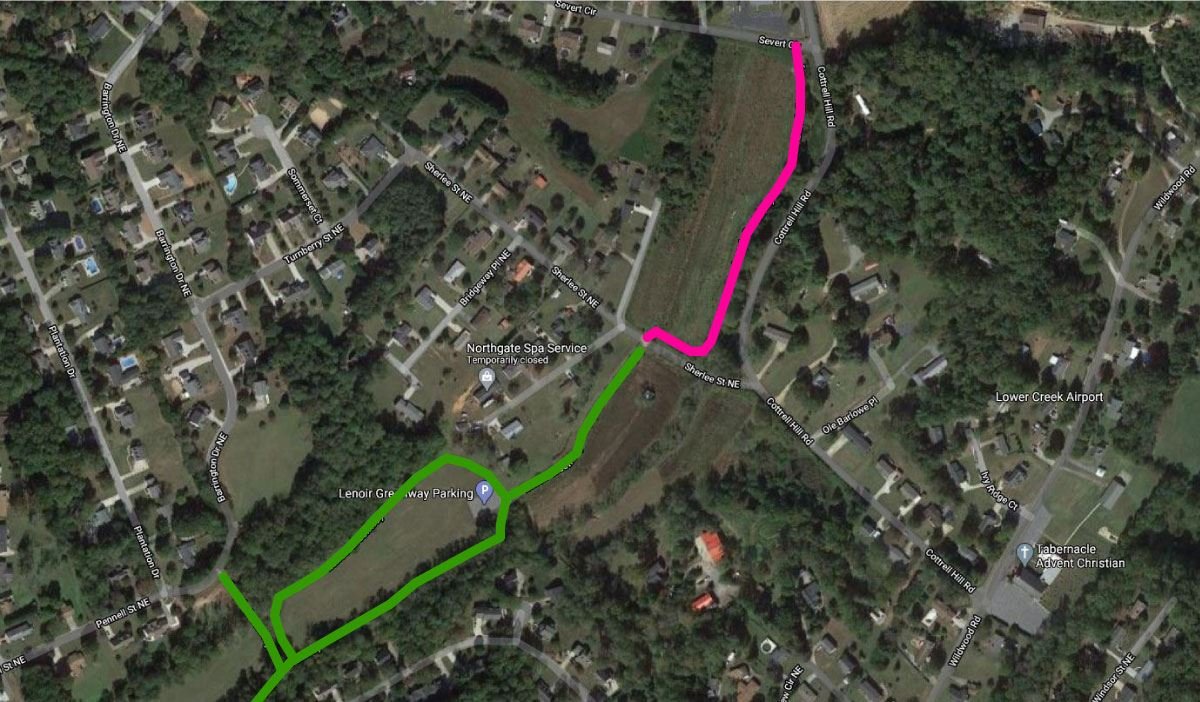 Map showing planned greenway extension between Sherlee Street and Severt Circle in Lenoir