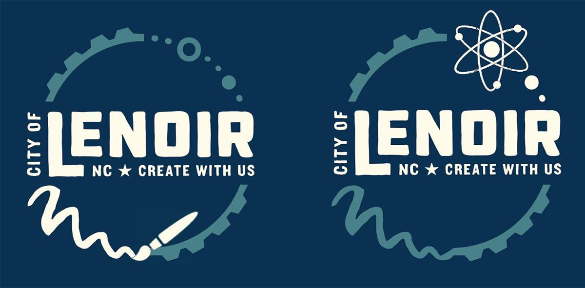 The City of Lenoir logo shown with a paint brush flourish and and atom flourish