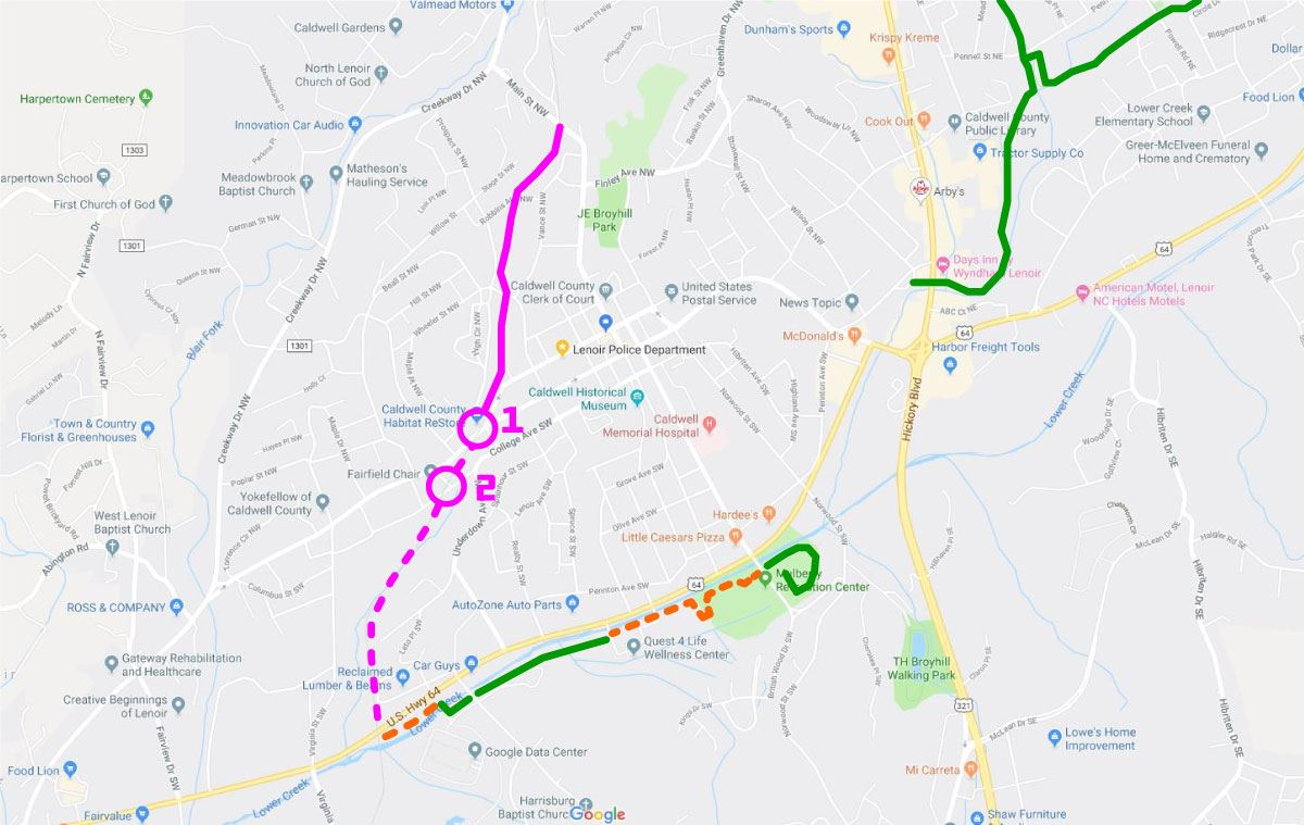 Graphic showing the Overmountain Victory National Historic Trail in Lenoir
