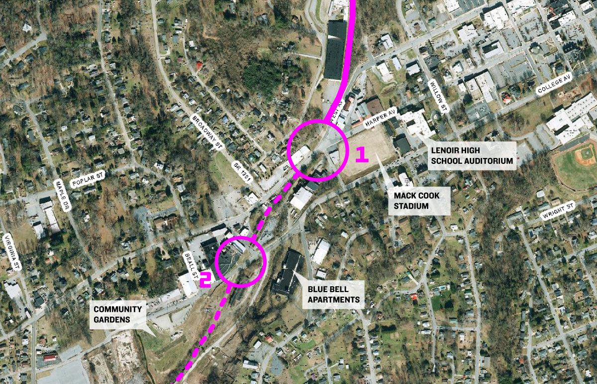 Graphic showing the rail trail crossing locations at Harper Avenue, Light Street, and College Avenue