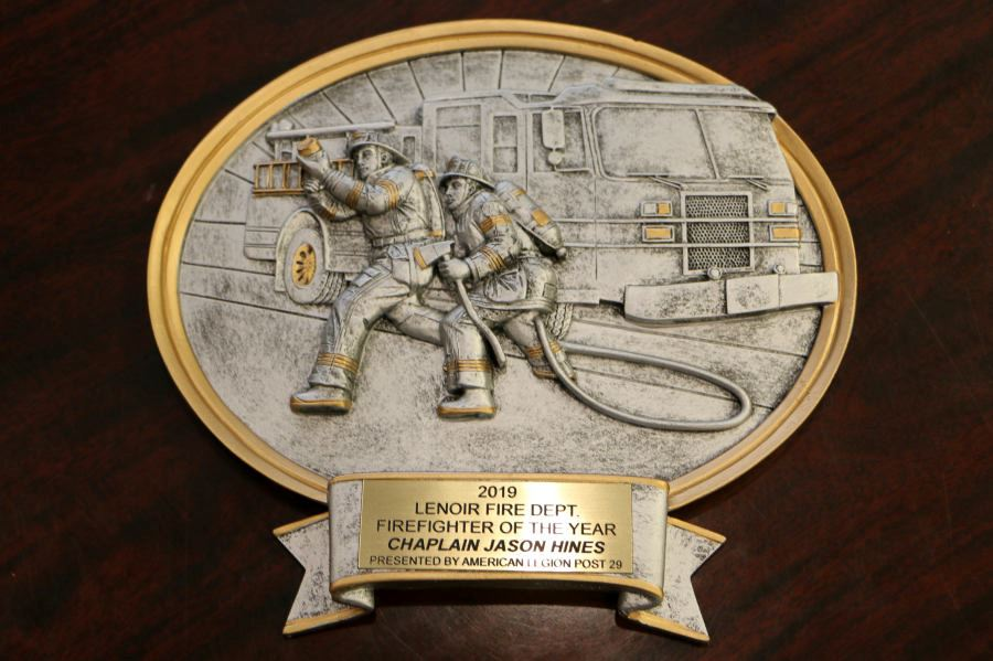 2019 Lenoir Fire Dept. Firefighter of the Year Chaplain Jason Hines Presented by American Legion Pos